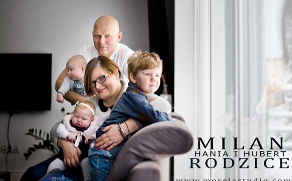 Milan, Hania i Hubert wraz z Rodzicami | Fotografia dziecięca Zielona Góra